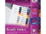 Avery Ready Index Template 10 Tab Avery Ready Index Translucent Table Of Content Dividers