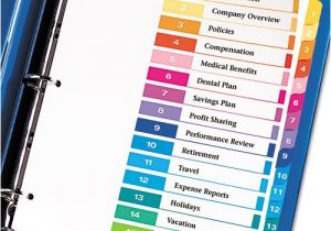 Avery Ready Index Template 15 Tab Avery 11143 Ready Index Customizable Table Of Contents