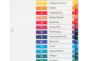 Avery Ready Index Template 15 Tab Avery Ready Index Customizable Table Of Contents Classic