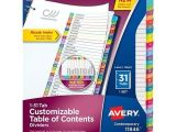 Avery Ready Index Template 31 Tab Avery Ready Index Customizable Table Of Contents
