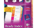 Avery Ready Index Template 5 Tab 11187 Avery 11187 Ready Index Table Cont Dividers W Color Tabs 5