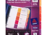 Avery Ready Index Template 5 Tab Avery Ready Index Reference Dividers Table Of Contents 5