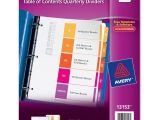 Avery Ready Index Template 5 Tab Avery Ready Index Table Of Cont Qrtrly Dividers 5 Per