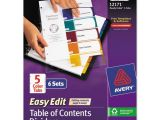 Avery Ready Index Template 5 Tab Color Avery Ready Index Customizable Table Of Contents asst