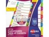 Avery Table Of Contents Template 10 Tab Avery 11842 Ready Index 10 Tab Multi Color Customizable