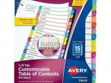 Avery Table Of Contents Template 15 Tab Avery Ready Index Customizable Table Of Contents