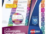 Avery Table Of Contents Template 25 Tab Avery 25 Tab Table Of Contents Template Brokeasshome Com