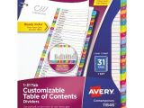 Avery Table Of Contents Template 31 Tab Avery Ready Index Table Of Contents Dividers Multicolor