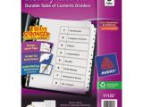 Avery Table Of Contents Template 8 Tab Avery 11132 Ready Index 8 Tab White Table Of Contents