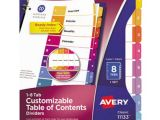 Avery Table Of Contents Template 8 Tab Avery Ave11133 Ready Index 8 Tab Multi Color Table Of
