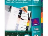 Avery Table Of Contents Template 8 Tab Avery Ready Index Translucent Table Of Content Dividers