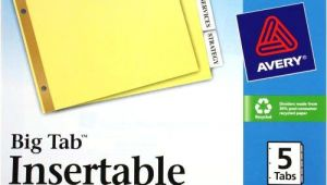 Avery Template 5 Tab Avery 5 Tab Clear Dividers Buff Paper Worksaver Big Tab