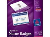 Avery Templates for Name Badges Avery top Loading Garment Friendly Clip Style Name Badges