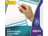 Avery Templates Tabs Print Apply Clear Label Dividers W White Tabs by Avery