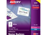 Avery White Adhesive Name Badges 5395 Template Avery White Adhesive Name Badges 2 33 X 3 38 In White