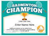 Badminton Certificate Template Badminton Certificate Kid Certificate Champion Award