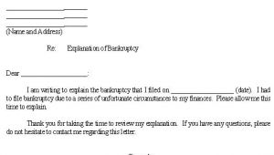 Bankruptcy Letter Of Explanation Template Sample Letter for Explanation Of Bankruptcy Template