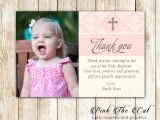 Baptism Thank You Card Wording Blush Pink Creme Baptism Christening Thank You Note Printable