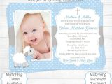 Baptism Thank You Card Wording Lamb Baptism Invitation Boy First 1st Birthday Christening