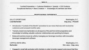 Bartender Resume Templates Bartender Resume Sample Resume Genius