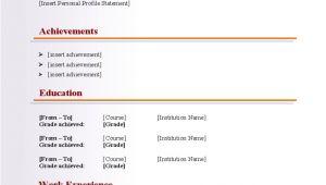 Basic Blank Resume Template Basic Blank Cv Resume Template for Fresher Free Download