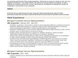 Basic Knowledge Of Spanish Resume Bilingual Customer Service Representative Resume Samples
