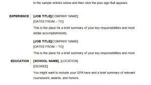 Basic Resume Examples Free Microsoft Word Resume Template 49 Free Samples