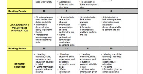 Basic Resume Rubric Sample Resume Rubric Free Resume Sample