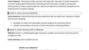Basic Resume Summary Examples 9 Career Summary Examples Pdf Examples