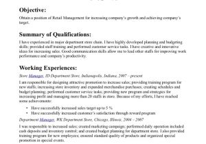 Basic Retail Resume Examples Simple Basic Retail Resume Resume Objective for Retail
