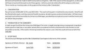 Basketball Contract Template Men 39 S Basketball Coach Contract Example