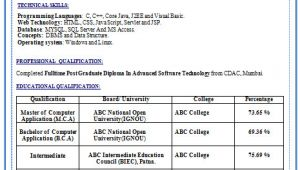 Bca Fresher Resume format Download Pdf Resume format Resume format Download for Bca