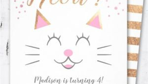 Beautiful Invitation Card for Kitty Party Kitty Cat Pink Gold Birthday Party Invitation Zazzle Com