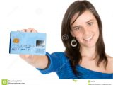 Beautiful Person Cue Card Follow Ups Casual Girl Holding A Credit Card Stock Image Of