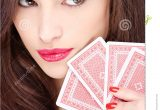Beautiful Person Cue Card Follow Ups Pretty Woman Holding Gambling Cards Stock Image Image Of