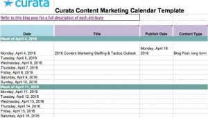Best Content Marketing Calendar Template Editorial Calendar Templates for Content Marketing the
