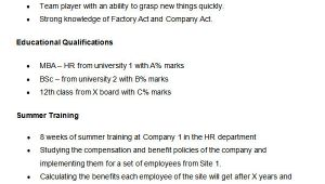 Best format Of Hr Resume for Fresher 21 Best Hr Resume Templates for Freshers Experienced