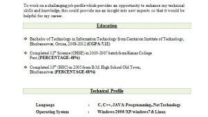 Best Resume format for Freshers Best Resume format for Freshers