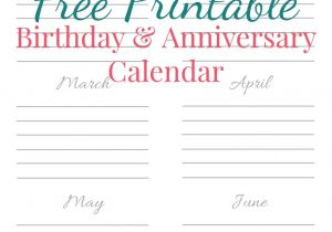 Birthday and Anniversary Calendar Template Free Printable Birthday Anniversary Calendar Laura Sue