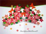 Birthday Card Flower Pop Up Double Star Loop Flower Pop Up Birthday Card