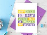 Birthday Card for Sister In Law Funny Sister In Law Birthday Card Sister In Law Card