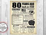 Birthday Card Year You Were Born 80 Years Ago the Year You Were Born 80th Birthday Poster