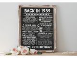Birthday Card Year You Were Born Instant Back In 1989 Printable 30th Birthday Sign