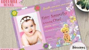 Birthday Invitation Card with Name and Photo Tinkerbell Birthday Invitation Editable Fairy