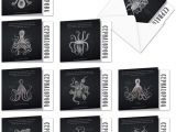 Blank Card and Envelope Sets assorted Boxed Of 10 Blank Note Cards Octo Facts 4 X 5 12 Inch with Envelopes Fun Facts and Images Of Octopuses Surrounded by Graphs Box Of Sea