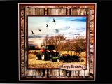 Blank Card for Photo Insert Handmade Birthday Card for Men Fathers Day Tractor