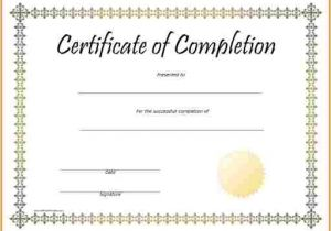 Blank Certificate Of Completion Template Blank Certificate Of Completion original Pictures
