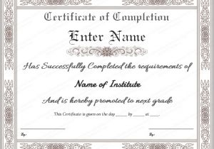 Blank Certificate Of Completion Template Certificate Templates