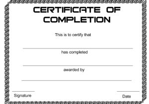 Blank Certificate Of Completion Template Completion Certificate Template Docs Example Pdf