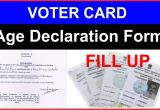 Blank Voter Id Card format Voter Card Age Declaration form Fill Up In Hindi Ii Age A A A A A A A A A A A A A A A A A A A A A A A